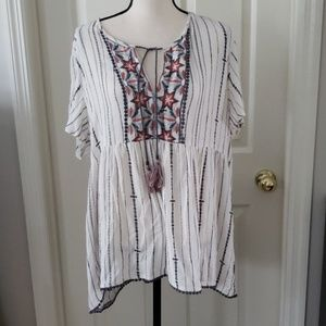 Knox Rose White Hippie Boho Peasant Blouse XL